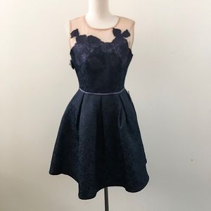 Navy Sleeveless Rose Dress